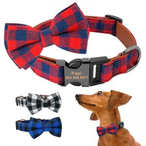 Personalised-Plaid-Bowtie-Collar